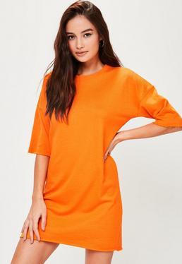Vestido sudadera de manga corta en naranja