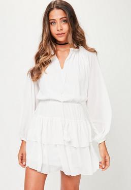 White Tassle Tie Frill Skater Dress