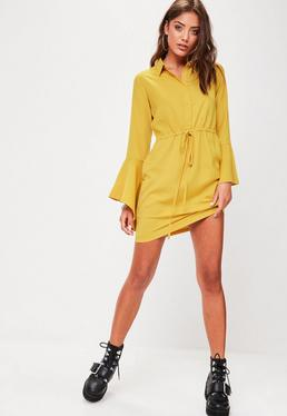 Mustard Tie Waist Shirt Dress