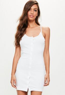 White Jersey Button Down Bodycon Mini Dress