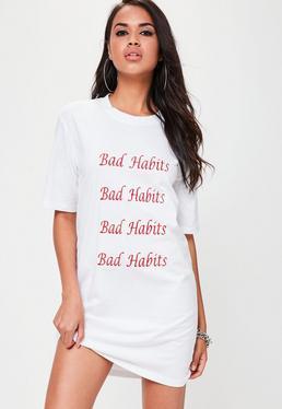 Vestido camiseta oversize en blanco