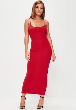 Red Strappy Ribbed Midi Dress