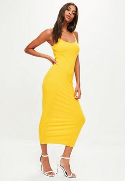 Yellow Strappy Ribbed Midi Dress
