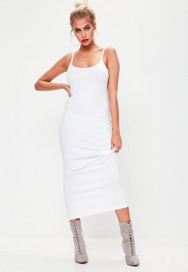 white strappy ribbed midi dress missguided. Black Bedroom Furniture Sets. Home Design Ideas
