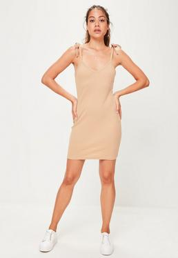 Nude Ribbed Bodycon Mini Dress