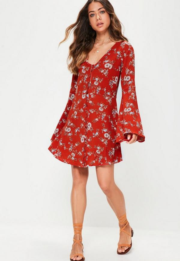 Red Floral Button Down Flared Sleeve Skater Dress Missguided