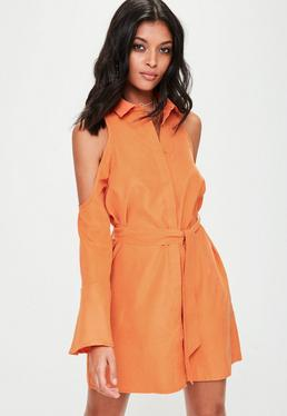 Orange Soft Touch Cold Shoulder Tie Dress
