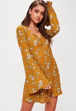 Yellow Floral Button Flare Sleeve Skater Dress