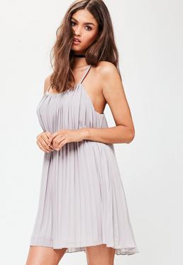 Grey Strappy Pleated Swing Dress