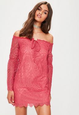 Pink Lace Bardot Shift Dress