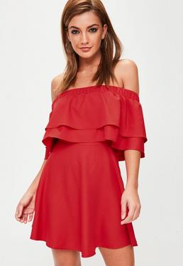 Red Bardot Frill Swing Dress