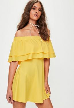 Yellow Bardot Frill Layered Swing Dress