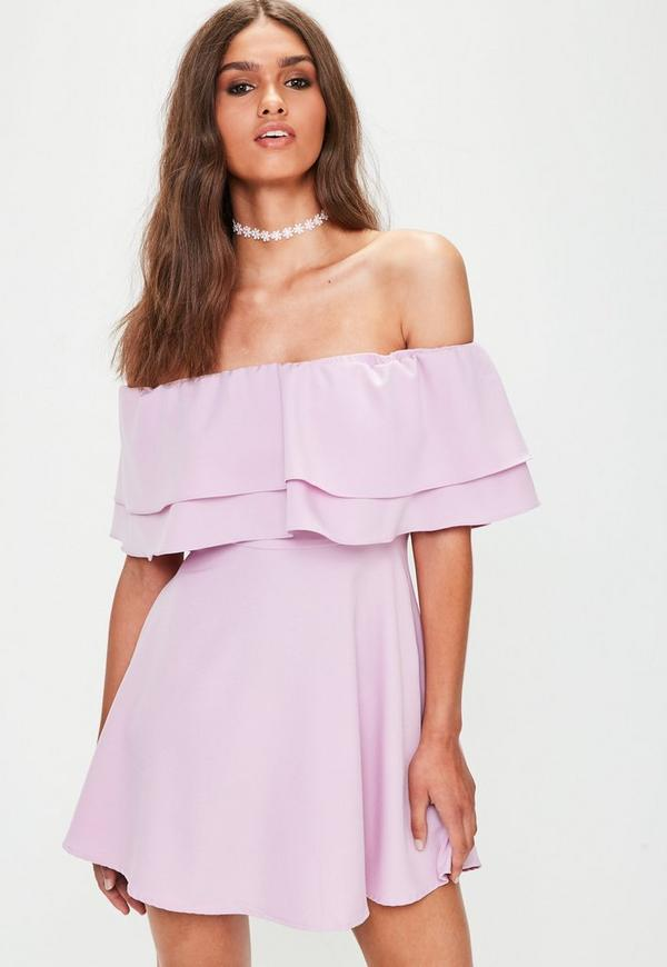 Pink Bardot Frill Layered Swing Dress
