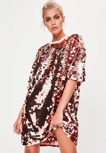 Rose Gold Sequin T Shirt Dress Missguided