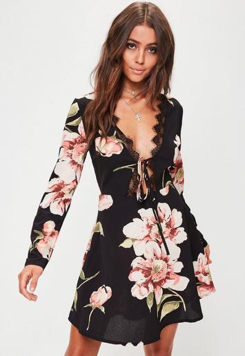 Black Floral Lace Trim Tea Dress Missguided