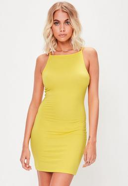 Yellow 90's Neck Bodycon Dress