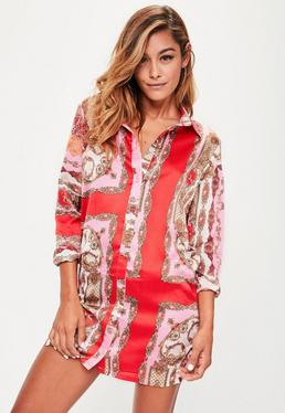 Pink Satin Printed Shirt Dress