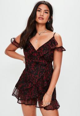 Black Cold Shoulder Printed Tea Dress