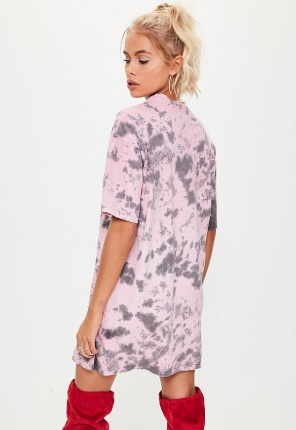 Pink Bleached Haters Oversized T Shirt Dress | Missguided