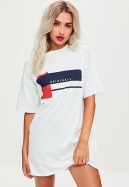 Vestido camiseta oversize con eslogan originals en blanco