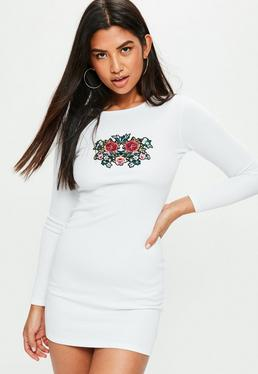 White Ribbed Floral Bodycon Dress