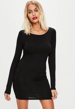 Black Long Sleeve Plain Jersey Bodycon Dress