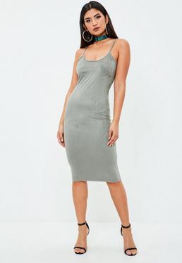 Khaki Strappy Faux Suede Bodycon Dress