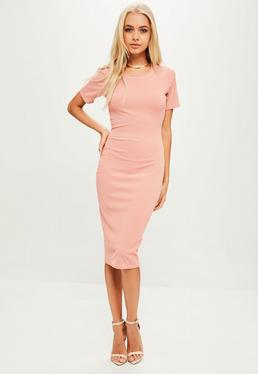 Pink Ribbed Short Sleeve Bodycon Midi Dress