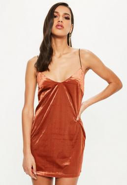 Orange Velvet Cami Shift Dress