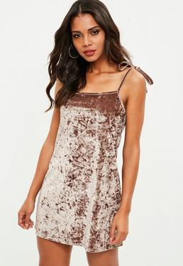 Brown Crushed Velvet Strappy Slip Dress