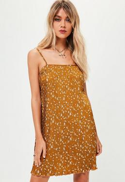 Brown Floral Pleated Slip Dress