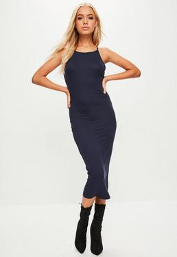 Navy 90's Neck Bodycon Midi Dress