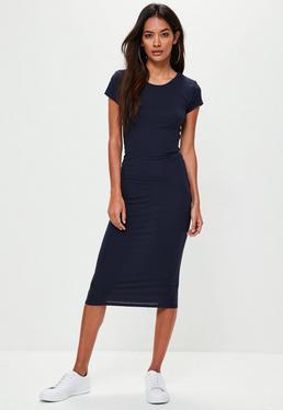 Navy Short Sleeve Bodycon Midi Dress