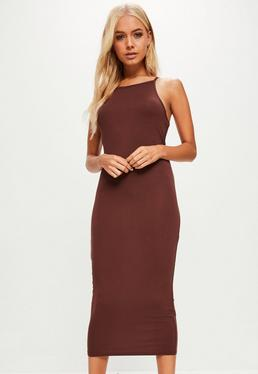 Brown 90's Neck Bodycon Midi Dress