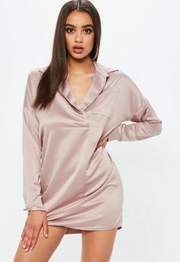 Różowa koszulowa satynowa sukienka
