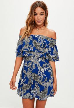 Blue Printed Bardot Shift Dress