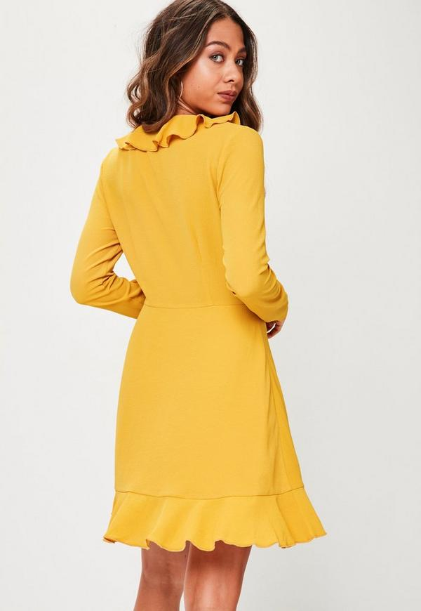 Yellow Long Sleeve Plain Ruffle Tea Dress | Missguided