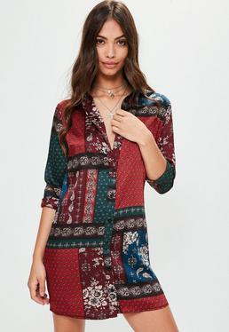 Burgundy Satin Scarf Print Shirt Dress