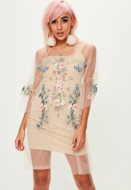 Beige Mesh Embroidered Dress