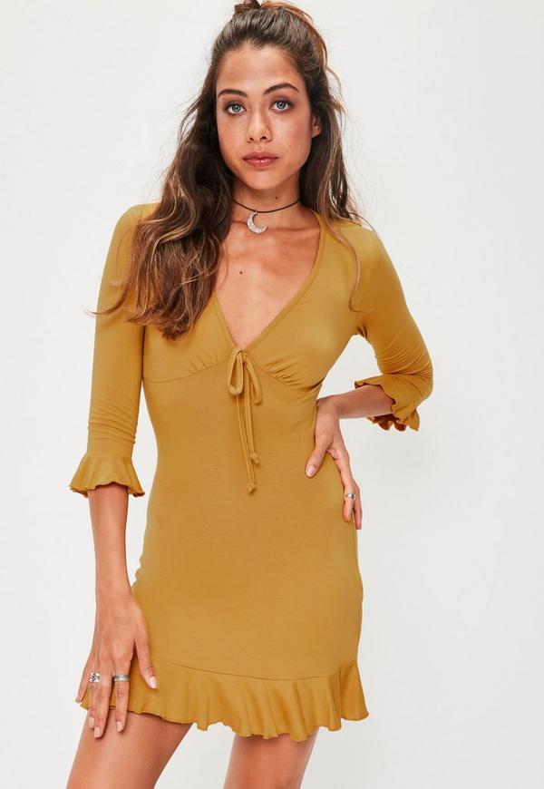 Yellow Plain Frill Tea Dress