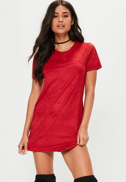 Red Faux Suede T-Shirt Dress