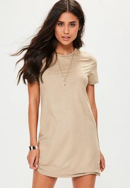 Beige Faux Suede T-Shirt Dress