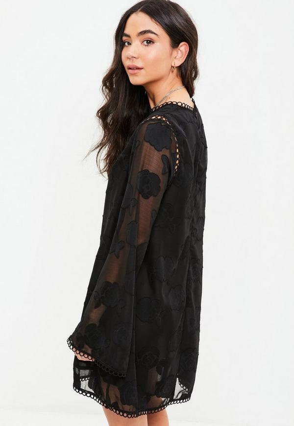 Black long sleeve shift dresses