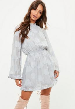 Grey Floral Print Skater Dress