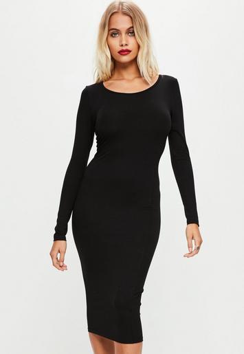 Black Long Sleeve Plain Midi Bodycon Dress Missguided
