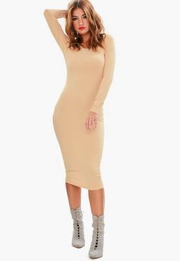 Nude Long Sleeve Midi Dress