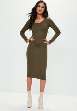 Khaki Long Sleeve Plain Midi Bodycon Dress
