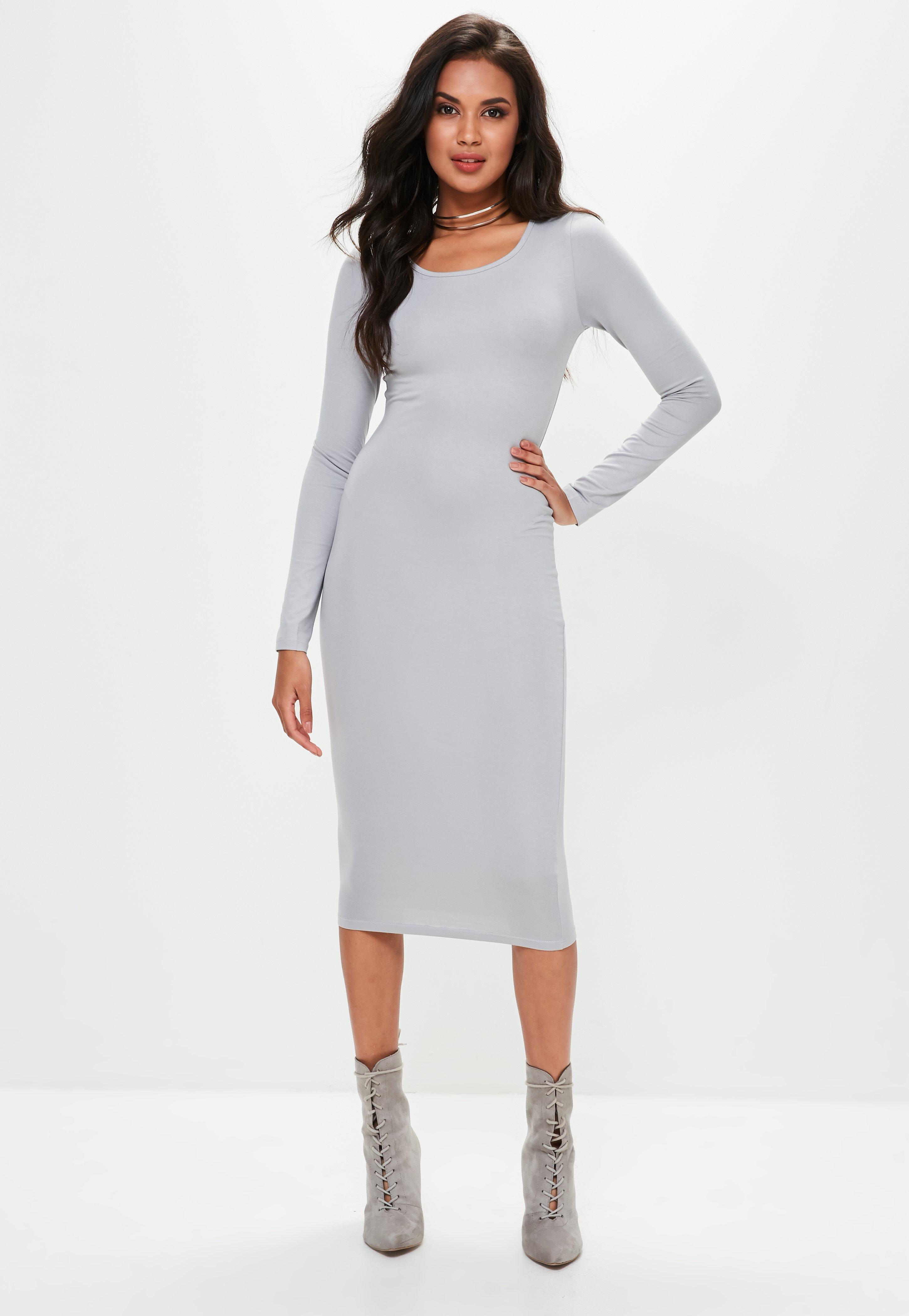 Kleid grau langarm