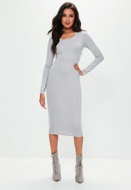 Grey Long Sleeve Plain Midi Bodycon Dress