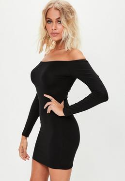 Black Long Sleeve Jersey Bardot Mini Dress